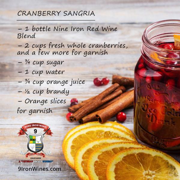 CRANBERRY SANGRIA RECIPE   The Best Sangria Recipe   9 Iron Wine